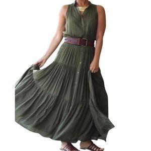 Banana Republic Tired Olive Maxi Full Skirt Dress